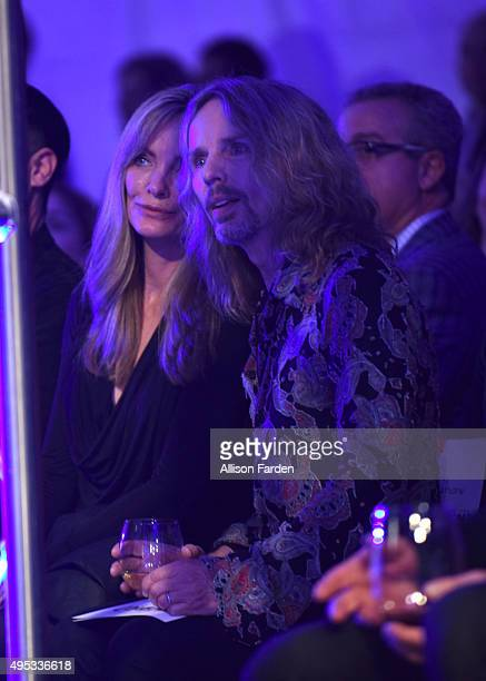 Tommy Shaw of the band Styx with Jeanne Mason attend Off The Record Fashion Show held at a Private Residence on November 1, 2015 in Nashville,...