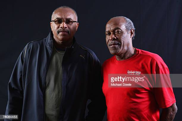 Tommy Smith and Lee Evans of USA gold medallists from the 1968 Mexico Olympics pose for a portrait during the IAAF World Athletics Gala at the...