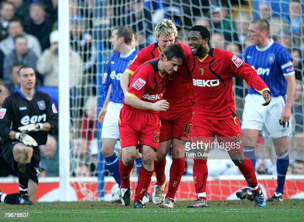 Tommy Smith , Darius Henderson and Nathan Ellington of Watford celebrate Smith's opening goal during the Coca Cola Championship match between Ipswich...