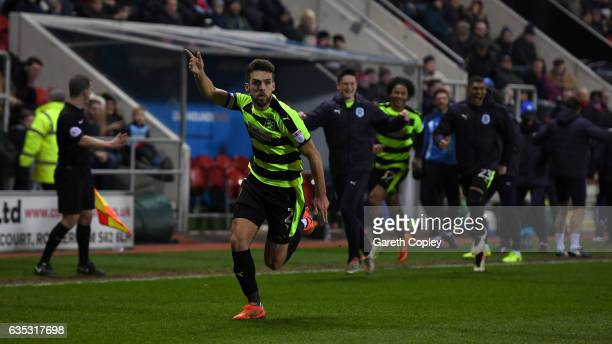 Tommy Smith of Huddersfield celebrates scoring the winner during the Sky Bet Championship match between Rotherham United and Huddersfield Town at The...