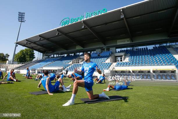 David Wagner the manager of Huddersfield Town during the Huddersfield Town preseason training session at the PSD Bank Arena on July 18 2018 in...
