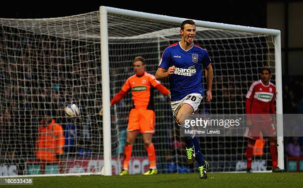Tommy Smith of Ipswich celebrates his second goal during the npower Championship match between Ipswich Town and Middlesbrough at Portman Road on...