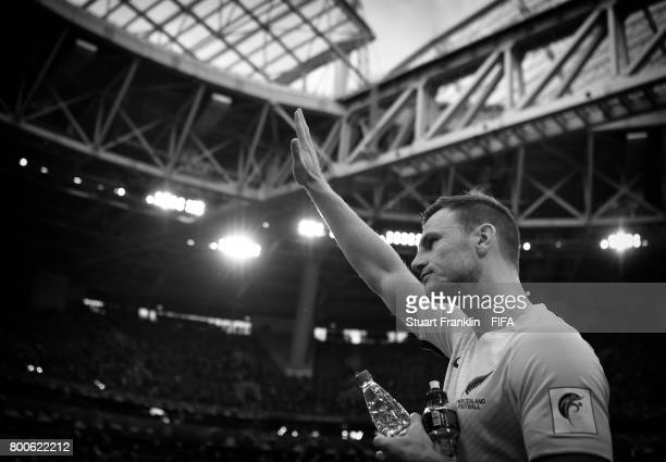Tommy Smith of New Zealand waves to fans after the FIFA Confederation Cup Group A match between New Zealand and Portugal at Saint Petersburg Stadium...