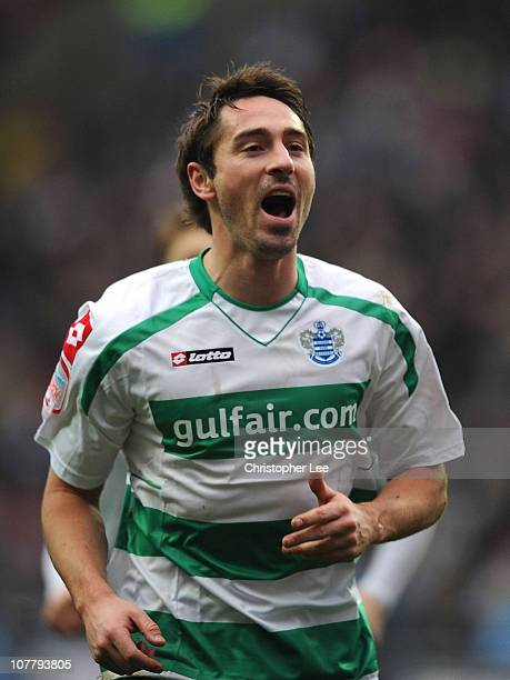 Tommy Smith of QPR celebrates scoring their second goal during the npower Championship match between Coventry City and Queens Park Rangers at The...