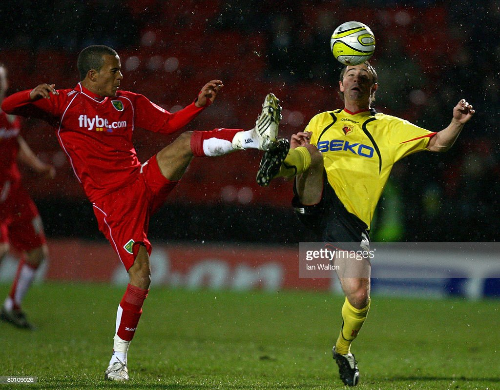 Tommy Smith of Watford and Ryan Bertrand of Norwich City in action during the Coca Cola Championship match between Watford and Norwich City at Vicarage Road on March 04, 2008 in Watford, England.