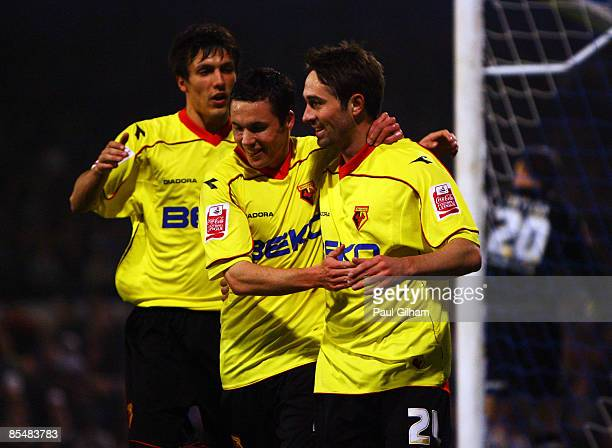 Tommy Smith of Watford celebrates scoring a penalty for Watford during the Coca-Cola Championship match between Cardiff City and Watford at Ninian...
