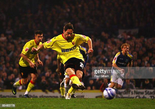 Tommy Smith of Watford scores a penalty for Watford during the Coca-Cola Championship match between Cardiff City and Watford at Ninian Park on March...