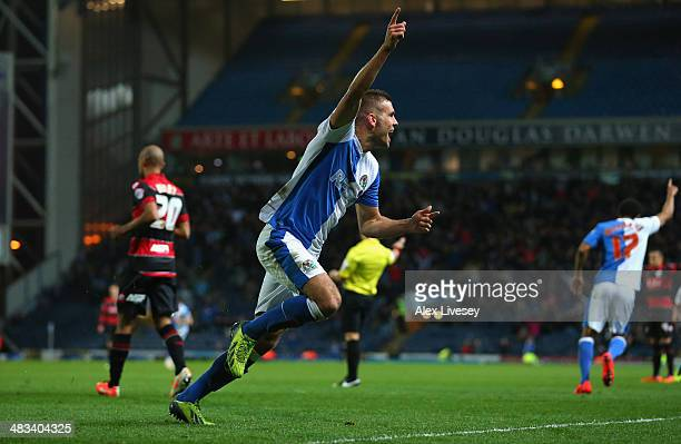 Tommy Spurr of Blackburn Rovers celebrates after scoring the second goal during the Sky Bet Championship match between Blackburn Rovers and Queens...