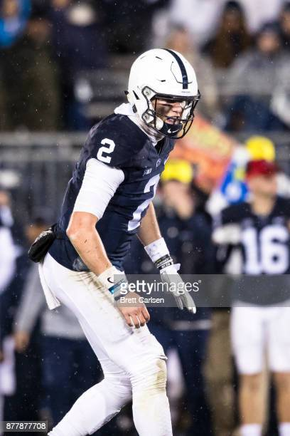 Tommy Stevens of the Penn State Nittany Lions calls to linemen before the snap during the second half against the Nebraska Cornhuskers on November 18...
