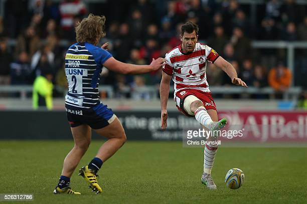 Tommy Taylor of Sale Sharks in action with Mark Atkinson of Gloucester Rugby during the Aviva Premiership match between Sale Sharks and Gloucester...