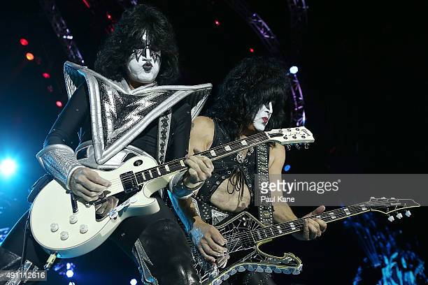 Tommy Thayer and Paul Stanley of KISS performs during their opening show for the Australian leg of their 40th anniversary world tour at Perth Arena...