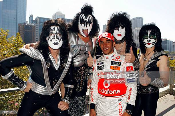 Tommy Thayer Gene Simmons Paul Stanley and Eric Singer of the band Kiss meet with British F1 driver Lewis Hamilton of McLaren ahead of Sunday's Grand...