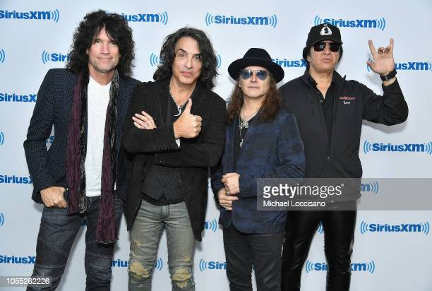 Tommy Thayer Paul Stanley Eric Singer and Gene Simmons of the band KISS attend SiriusXM's Town Hall with KISS on October 29 2018 in New York City