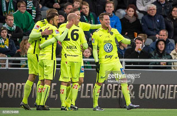 Tommy Thelin of Jonkopings Sodra celebrates after scoring 10 together with teammates during the Allsvenskan match between Hammarby IF and Jonkoping...