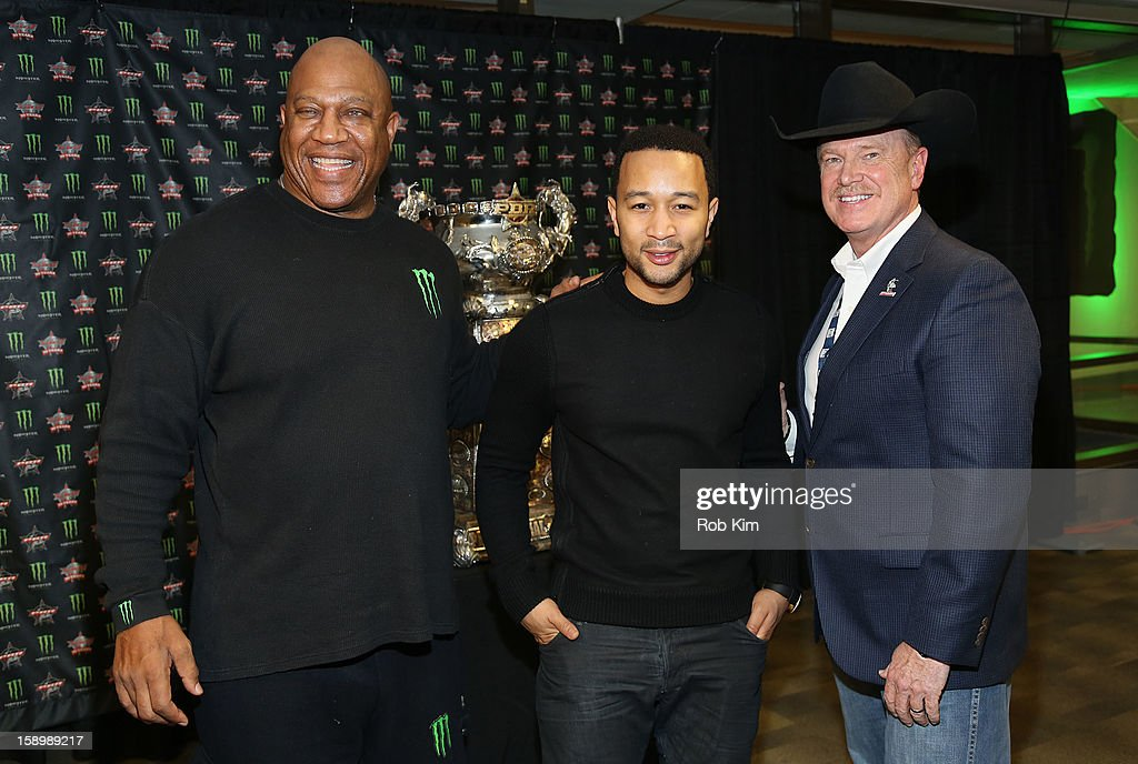 Tommy 'Tiny' Lister, John Legend and Jim Haworth attend The Professional Bull Riders 2013 Monster Energy Invitational VIP Party at Madison Square Garden on January 4, 2013 in New York City.