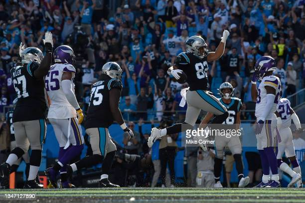 Tommy Tremble of the Carolina Panthers celebrates after a two-point conversion during the fourth quarter against the Minnesota Vikings at Bank of...