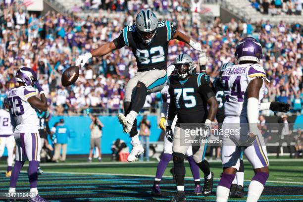 Tommy Tremble of the Carolina Panthers reacts after a two-point conversion during the fourth quarter against the Minnesota Vikings at Bank of America...