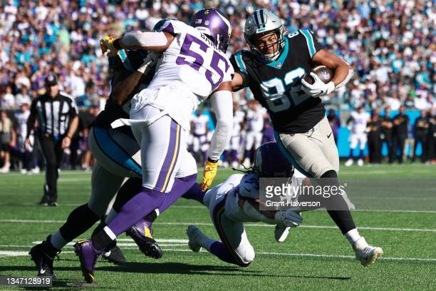 Tommy Tremble of the Carolina Panthers runs the ball against the Minnesota Vikings during the fourth quarter at Bank of America Stadium on October...