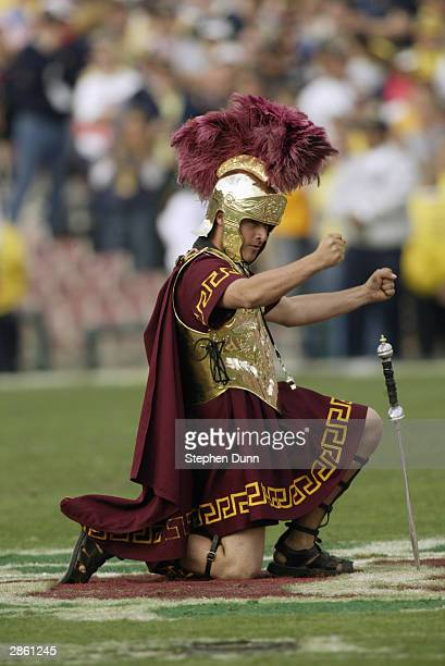 Tommy Trojan mascot of the USC Trojans entertains the crowd during an intermission in the 2004 Rose Bowl game against the Michigan Wolverines on...