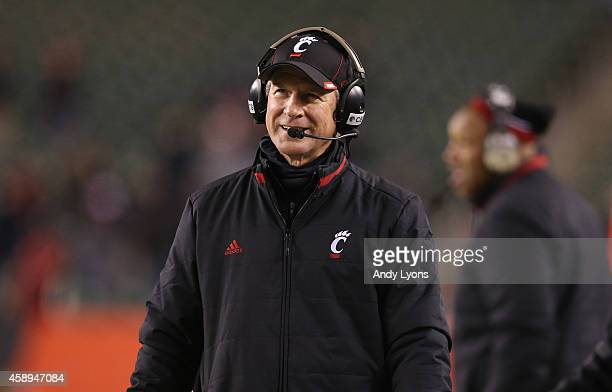 Tommy Tuberville the head coach of the Cincinnati Bearcats wathches the action against the East Carolina Pirates during the game at Paul Brown...