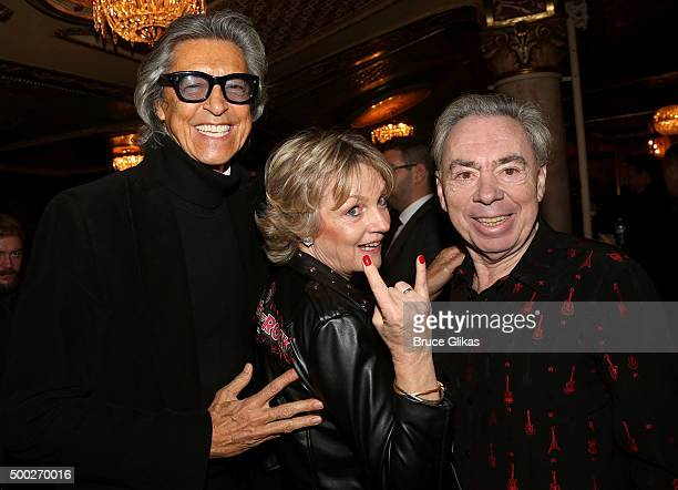 Tommy Tune Madeleine Gurdon and composer Andrew Lloyd Webber pose at the Opening Night of School of Rock on Broadway at The Winter Garden Theatre on...