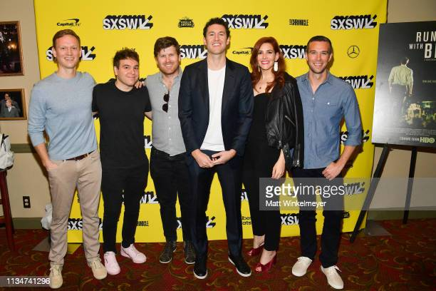 "Tommy Vietor, Jon Lovett, Greg Kwedar, David Modigliani, Rebecca Feferman, and Jon Favreau attend the ""Running with Beto"" Premiere 2019 SXSW..."