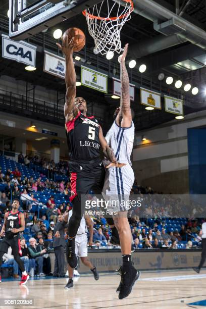 Tommy Williams of the Erie BayHawks shoots the ball against the Delaware 87ers during an NBA GLeague game on January 20 2018 at the Bob Carpenter...