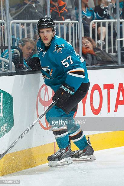 Tommy Wingels of the San Jose Sharks locates the puck against the Anaheim Ducks during an NHL game on November 29, 2014 at SAP Center in San Jose,...