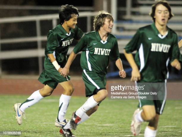 Tommy Xiong left Niwot celebrates scoring a goal against Broomfield during play Wednesday at Elizabeth Kennedy Stadium October 29 2008 staff photo/...