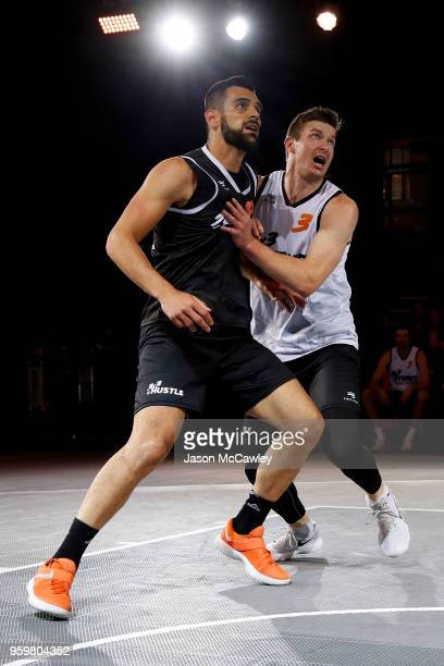 Tomo Cajic of Kranj and Aaron Bailey-Nowell of Auckland during Sydney FIBA 3x3 World Challenger event hosted by the NBL held at the Overseas...