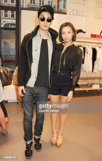 Tomo Kurata and Leah Weller attend the launch of Lacoste's new London Flagship store in Knightsbridge on June 20 2012 in London England