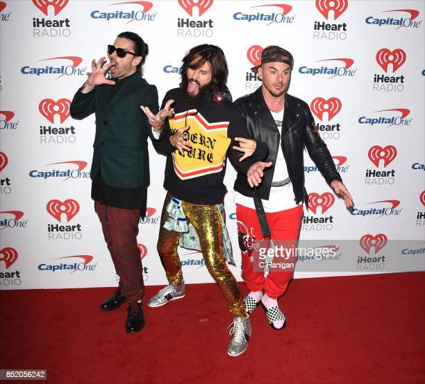 Tomo Milicevic Jared Leto and Shannon Leto of 30 Seconds to Mars attend the 2017 iHeartRadio Music Festival at TMobile Arena on September 22 2017 in...