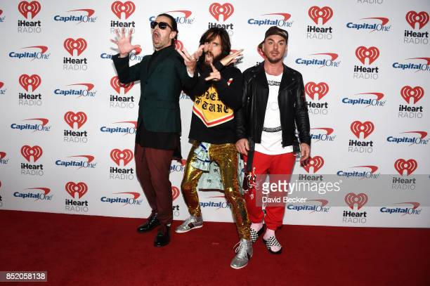 Tomo Milicevic Jared Leto and Shannon Leto of music group Thirty Seconds to Mars attend the 2017 iHeartRadio Music Festival at TMobile Arena on...