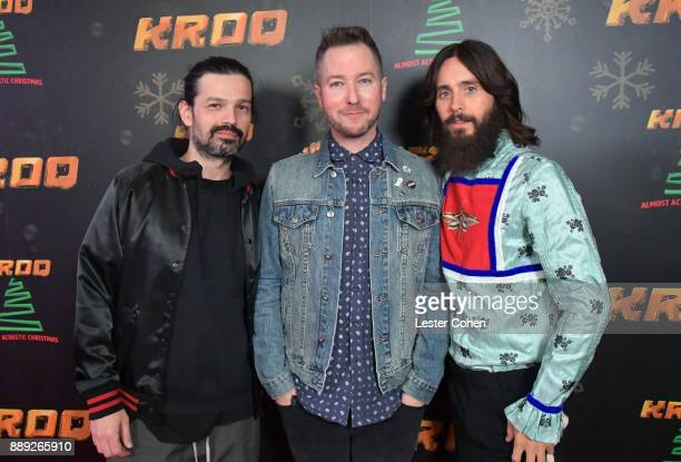 Tomo Milicevic KROQ DJ Stryker and Jared Leto of Thirty Seconds to Mars pose in the press room during KROQ Almost Acoustic Christmas 2017 at The...