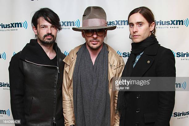 Tomo Milicevic Shannon Leto and Jared Leto of 30 Seconds to Mars visit SiriusXM Studios on March 19 2013 in New York City