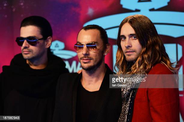 Tomo Milicevic Shannon Leto and Jared Leto of Thirty Seconds To Mars attend the MTV EMA's 2013 at the Ziggo Dome on November 10 2013 in Amsterdam...