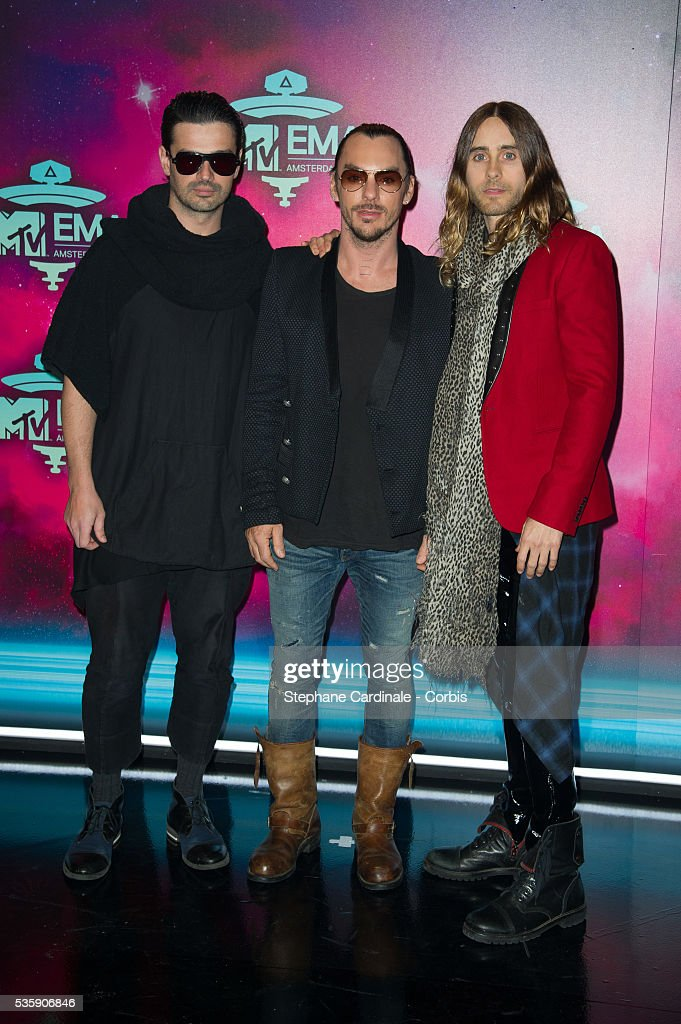 Tomo Milicevic, Shannon Leto and Jared Leto of Thirty Seconds To Mars attend the MTV EMA's 2013 at the Ziggo Dome in Amsterdam, Netherlands.