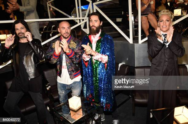 Tomo Milicevic Shannon Leto and Jared Leto of Thirty Seconds to Mars and Pink attend the 2017 MTV Video Music Awards at The Forum on August 27 2017...