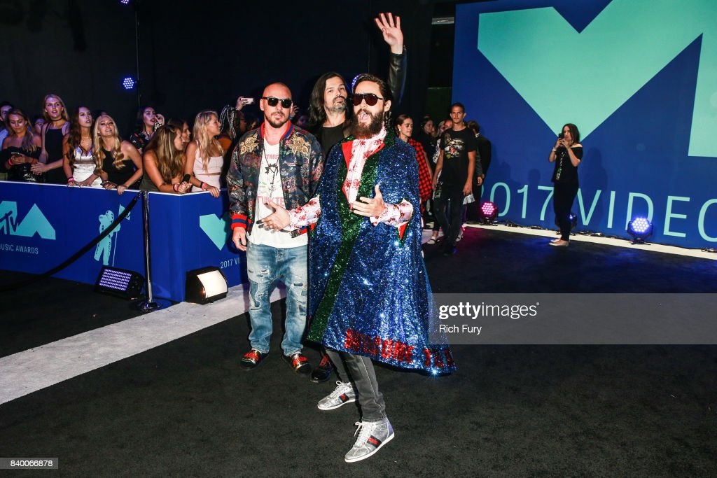 Tomo Milicevic, Shannon Leto, and Jared Leto of Thirty Seconds to Mars attend the 2017 MTV Video Music Awards at The Forum on August 27, 2017 in Inglewood, California.
