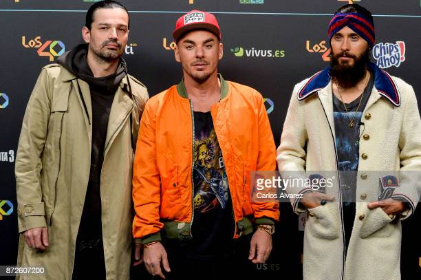 Tomo Milicevic Shannon Leto and Jared Leto of Thirty Seconds To Mars music band attend 'Los 40 Music Awards' photocall at WiZink Center on November...