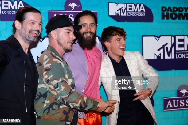 Tomo Milicevic Shannon Leto and Jared Leto of Thirty Seconds to Mars and Lil' Kleine attend the MTV EMAs 2017 held at The SSE Arena Wembley on...