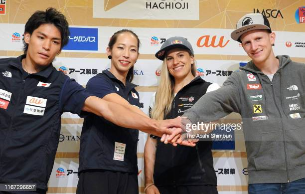 Tomoa Narasaki of Japan Akiyo Noguchi of Japan Petra Klingler of Switzerland and Jakob Schubert of Austria pose during a press conference ahead of...