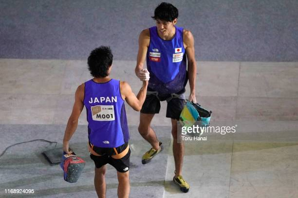 Tomoa Narasaki of Japan and Meichi Narasaki of Japan shake hands after competing in the Speed during Combined Men's Qualification on day nine of the...
