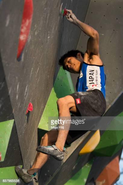 Tomoa Narasaki of Japan competes during the qualification of IFSC Climbing World Cup in Munich on August 18 2017 in Munich Germany
