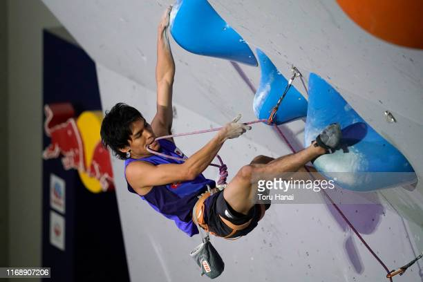 Tomoa Narasaki of Japan competes in the Lead during Combined Men's Qualification on day nine of the IFSC Climbing World Championships at the Esforta...