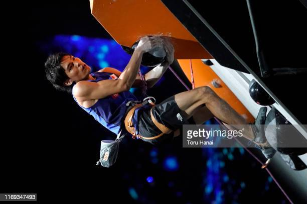 Tomoa Narasaki of Japan competes in the Lead during Combined Men's Final on day eleven of the IFSC Climbing World Championships at the Esforta Arena...