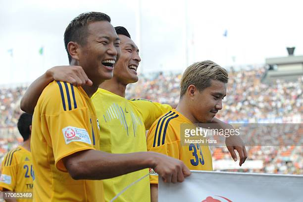 Tomoaki Makino and Michihiro Yasuda ,Chong Tese look on after the J.League Special Match between J.League Team as One and Rest of the J.League at...