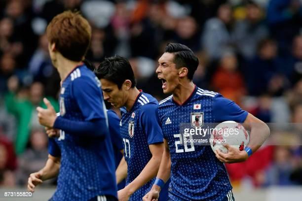 Tomoaki Makino of Japan celebrates 13 during the International Friendly match between Japan v Brazil at the Stade Pierre Mauroy on November 10 2017...