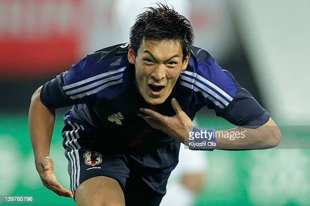 Tomoaki Makino of Japan celebrates his goal against Iceland during the Kirin Challenge Cup international friendly match between Japan and Iceland at...