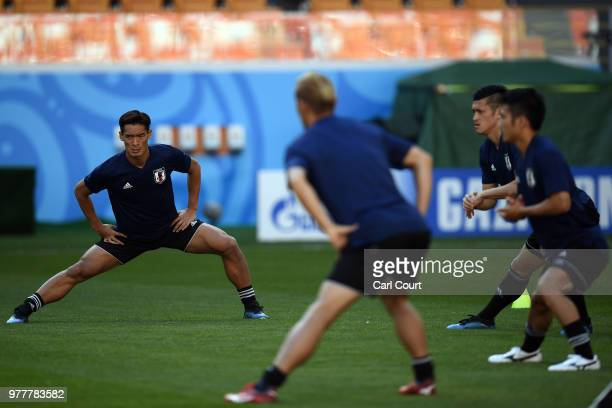 Tomoaki Makino of Japan during a training session ahead of the FIFA World Cup Group H match between Colombia and Japan at Mordovia Arena on June 18...